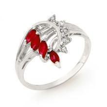 0.55 ctw Ruby & Diamond Ring 18K White Gold - REF#-33M6F-12948
