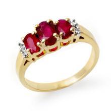 1.18 ctw Ruby & Diamond Ring 14K Yellow Gold - REF#-28R5H-13208