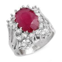 4.62 ctw Ruby & Diamond Ring 18K White Gold - REF#-152X9T-13936