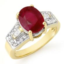 5.55 CTW Ruby & Diamond Ring 10K Yellow Gold - REF-64X2T - 11701
