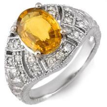 3.60 ctw Yellow Sapphire & Diamond Ring 14K White Gold - 10944-REF#-65Y7V