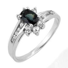 1.08 ctw Blue Sapphire & Diamond Ring 14K White Gold - 11186-REF#-35Z5P