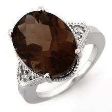9.18 ctw Smoky Topaz & Diamond Ring 14K White Gold - 11648-REF#-46R2H