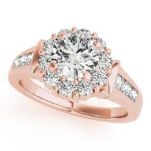 1.9 CTW Certified VS/SI Diamond Bridal Solitaire Halo Ring 18K Rose Gold Gold - REF#-424V2Y