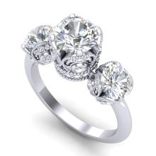 3 CTW VS/SI DIAMOND SOLITAIRE BRIDAL ART DECO 3 STONE RING 18K Gold - REF#-604G5N