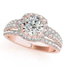 2 CTW Certified VS/SI Diamond Bridal Solitaire Halo Ring 18K Rose Gold Gold - REF#-407V3Y