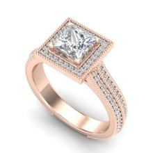 2 CTW PRINCESS VS/SI DIAMOND SOLITAIRE MICRO PAVE RING 18K Gold - REF#-472X7T