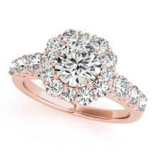 2.25 CTW Certified VS/SI Diamond Bridal Solitaire Halo Ring 18K Rose Gold Gold - REF#-445W3G