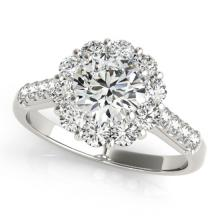 2.75 CTW Certified VS/SI Diamond Bridal Solitaire Halo Ring 18K White Gold - REF#-635Y9M