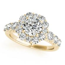 2.9 CTW Certified VS/SI Diamond Bridal Solitaire Halo Ring 18K Yellow Gold - REF#-634K8W