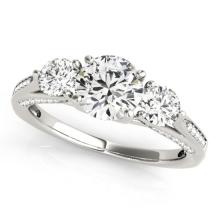 1.75 CTW Certified VS/SI Diamond 3 stone Bridal  Ring 18K White Gold Gold - REF#-427H3M