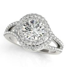 2.15 CTW Certified VS/SI Diamond Bridal Solitaire Halo Ring 18K White Gold - REF#-617M5F