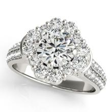 2.16 CTW Certified VS/SI Diamond Bridal Solitaire Halo Ring 18K White Gold - REF#-440K5W