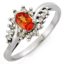 0.55 CTW Orange Sapphire & Diamond Ring 14K White Gold - REF-29W8F - 10100