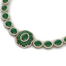 58.33 CTW Royalty Emerald & VS Diamond Necklace 18K Yellow Gold - REF-1187X3T - 39221