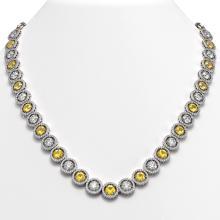 35.54 CTW Canary Yellow & White Diamond Designer Necklace 18K White Gold - REF-5036X2T - 42686