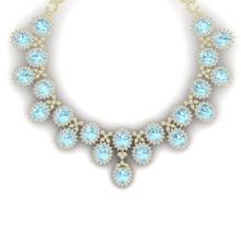 83 CTW Royalty Sky Topaz & VS Diamond Necklace 18K Yellow Gold - REF-1381W8F - 38633