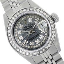 Rolex Ladies Stainless Steel, Diamond Dial & Diamond Bezel, Sapphire Crystal - REF-434T5K