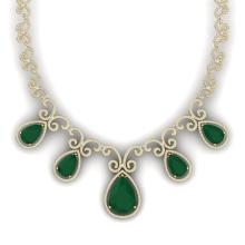 38.42 CTW Royalty Emerald & VS Diamond Necklace 18K Yellow Gold - REF-1218N2Y - 39527
