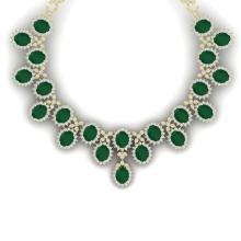 81 CTW Royalty Emerald & VS Diamond Necklace 18K Yellow Gold - REF-1618T2M - 38621