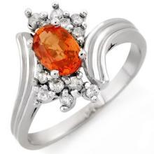 1.0 CTW Orange Sapphire & Diamond Ring 18K White Gold - REF-44A4X - 10368