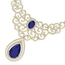 87.52 CTW Royalty Sapphire & VS Diamond Necklace 18K Yellow Gold - REF-1727A3X - 39844