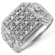 0.50 CTW Certified VS/SI Diamond Men's Ring 10K White Gold - REF-61W6F - 10578