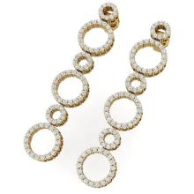 1.50 CTW Certified SI/I Diamond Halo Earrings 18K Yellow Gold - REF-139T2M - 40183