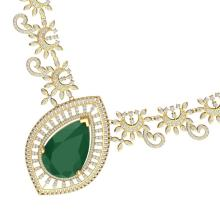 65.75 CTW Royalty Emerald & VS Diamond Necklace 18K Yellow Gold - REF-1581H8A - 39776