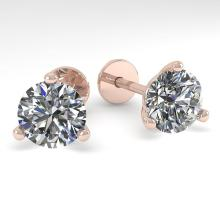 2.0 CTW Certified VS/SI Diamond Stud Earrings Martini 18K Rose Gold - REF-570H2A - 32213
