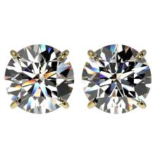4.04 CTW Certified H-I Quality Diamond Stud Earrings 10K Yellow Gold - REF-1237W5F - 36710