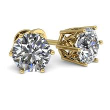 1.0 CTW Certified VS/SI Diamond Stud Solitaire Earrings 18K Yellow Gold - REF-178H2A - 35821