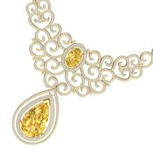 73.43 CTW Royalty Canary Citrine & VS Diamond Necklace 18K Yellow Gold - REF-1527M3H - 39850