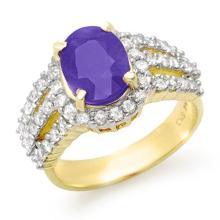 4.70 CTW Tanzanite & Diamond Ring 14K Yellow Gold - REF-152F8N - 14344
