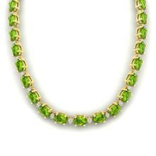 61.85 CTW Peridot & VS/SI Certified Diamond Necklace Gold 10K Yellow Gold - REF-395N8Y - 29514