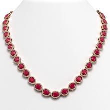 45.93 CTW Ruby & Diamond Halo Necklace 10K Rose Gold - REF-674A2X - 41046