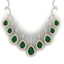 31.5 CTW Royalty Emerald & VS Diamond Necklace 18K Yellow Gold - REF-872N8Y - 39347