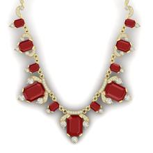 75.21 CTW Royalty Ruby & VS Diamond Necklace 18K Yellow Gold - REF-1363Y6K - 38750
