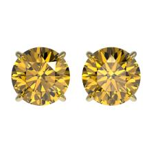 1.97 CTW Certified Intense Yellow SI Diamond Solitaire Stud Earrings 10K Yellow Gold - REF-297M2H - 36667