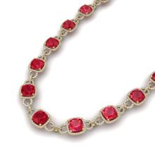 56 CTW Ruby & VS/SI Diamond Necklace 14K Yellow Gold - REF-1003W6F - 23049