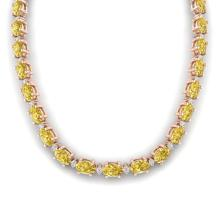46.5 CTW Citrine & VS/SI Certified Diamond Eternity Necklace 10K Rose Gold - REF-226T2M - 29420