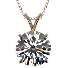 2.50 CTW Certified H-SI/I Quality Diamond Solitaire Necklace 10K Rose Gold - REF-870K2W - 33241