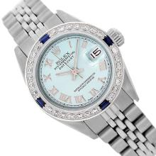 Rolex Ladies Stainless Steel, Roman Dial with Diam/Sapphire Bezel, Saph Crystal - REF-355F6M