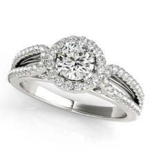 1.15 CTW Certified VS/SI Diamond Bridal Solitaire Halo Ring 18K White Gold - REF#-204W7G - 26425