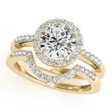 0.67 CTW Certified VS/SI Diamond 2pc Wedding Set Solitaire Halo 14K Gold - REF#-81R6H - 30770
