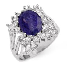 4.44 ctw Tanzanite & Diamond Ring 14K White Gold - REF#-183F8V - 14093
