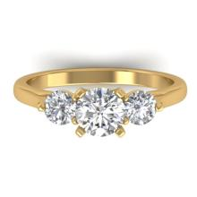 1.37 CTW CERTIFIED VS/SI DIAMOND ART DECO 3 STONE RING 14K Gold - REF#-212M9R - 30485