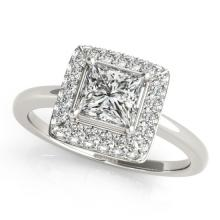 1.6 CTW Certified VS/SI Princess Diamond Bridal Solitaire Halo Ring 18K Gold - REF#-440M7F - 27165