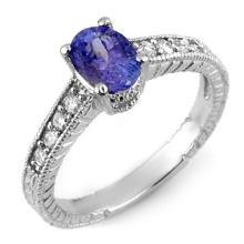 1.25 ctw Tanzanite & Diamond Ring 14K White Gold - REF#-38W7G - 10883