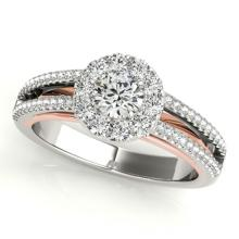 0.75 CTW Certified VS/SI Diamond Bridal Solitaire Halo Ring 18K Two Tone Gold - REF#-130V5Y - 26632